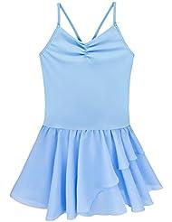 YiZYiF Enfant Filles Justaucorps Danse Gym V Col Mousseline T shirt Sans Manches 2-12 Ans