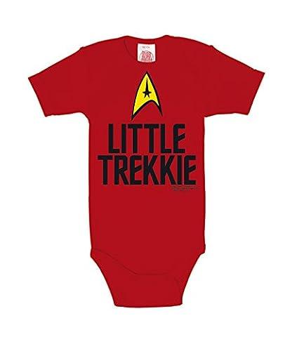 Star Trek - USS Enterprise Logo - Little Trekkie Baby-Body Kurzarm Junge - Baby Strampler - rot - Lizenziertes Originaldesign - LOGOSHIRT, Größe 98/104, 2-4