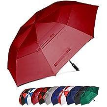 Amazon Brand: Eono Essentials, ombrello da golf, portatile, doppio telo, antivento, automatico, resistente e oversize, 158 cm, colore bordeaux