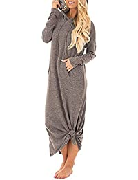 GIKING Women s Hoodies Long Sleeve Tunic Pullover Sweatshirt Maxi Dresses  with Kangaroo Pocket 86eb5652a