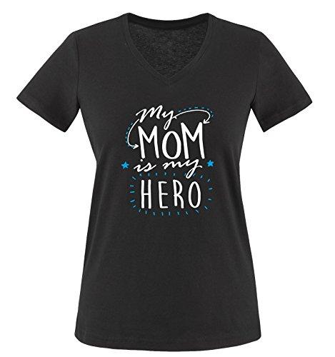 Comedy Shirts - My MOM is My Hero - Damen V-Neck T-Shirt - Schwarz/Weiss-Blau Gr. M -
