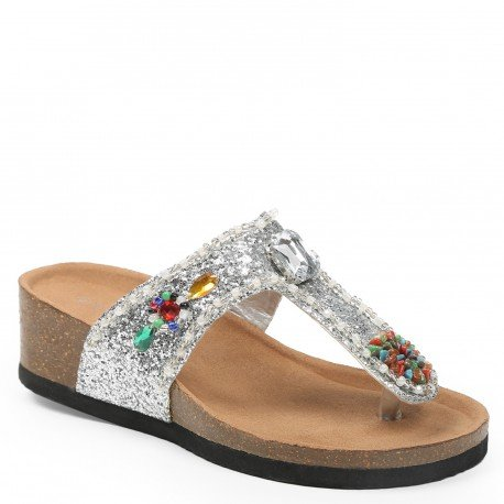 Ideal Shoes - Nu-pieds pailleté et incrusté de strass Andrienne Argent