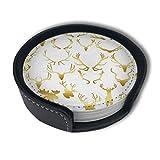 BJAMAJ Gold Geweih Clip Art Premium PU Leder Untersetzer Getränke-Runde Untersetzer mit Halter-Sets, geeignet für Zuhause und Küche (6 Stück)