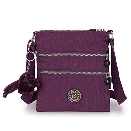 Honeymall borse a spalla borsa a tracolla muliti tasche borsetta le donne casuale multi tasca Borsa a tracolla impermeabile Viola viola