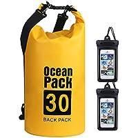 flintronic® Bolsa Impermeable, 30L Bolsa de Hombro Impermeable IP66, Bolsas Kayak, para Canoa Kayak Barco Camping Natación Rafting Velo Pesca (Incluye 2 PCS Bolsa Impermeable para Teléfono Celular)
