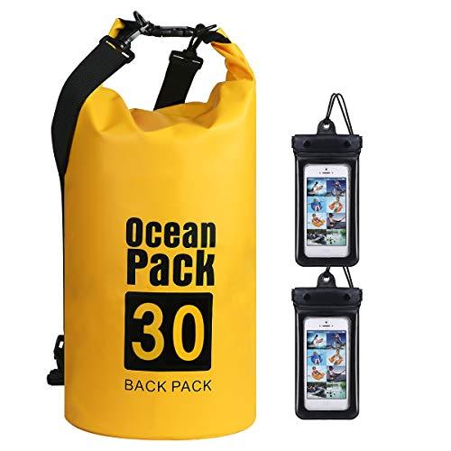 flintronic Sac Étanche, 30L Sac à Dos Étanche, IP66 Sac Étanche à Sangles, pour Kayak Bateau Canoeing Camping Piscine Rafting Voile Pêche (Incluse 2PCS Sac Étanche pour Téléphone Portable)