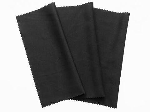 3x Mikrofaser Reinigungstücher 20x19cm, Tücher in schwarz zum reinigen von Touchscreen, Smartphone Display, Tablet PCs, Brillen, Notebook, Laptop, Reinigung von iPhone, iPad, Objektive, Monitor, Bildschirm LED, Kamera -
