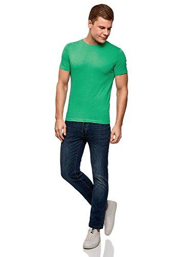 oodji Ultra Herren Gerades Tagless T-Shirt Basic Grün (6500N)