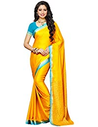 Mimosa Women's Crepe Saree With Blouse Piece (2121-Gld-And,Gold,Free Size)