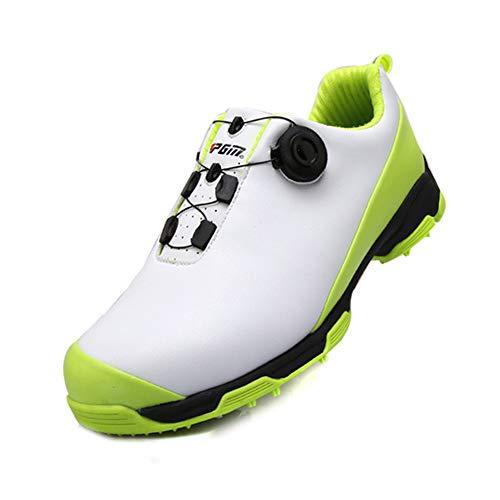 LXYIUN Golfschuhe,Herren Atmungsaktive Turnschuhe rutschfest Wasserdicht Sportschuhe,Green,39