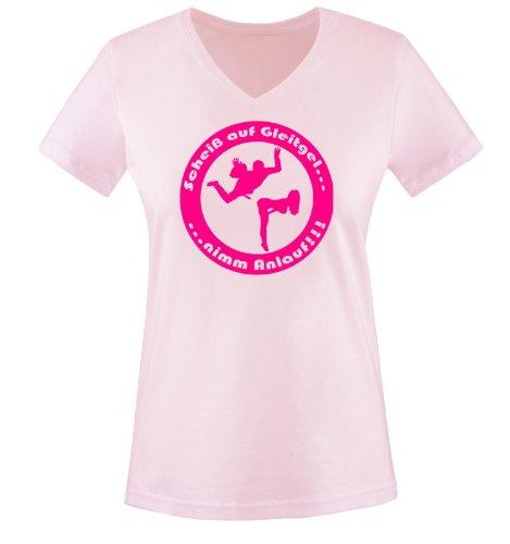 Scheiß auf Gleitgel. nimm Anlauf ! - Einfarbig - Damen V-Neck T-Shirt - Rosa/Pink Gr. L