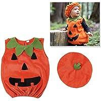 Amosfun Disfraz de Calabaza de Halloween Traje de Vestir Ropa con Sombrero para bebé Fotomatón Prop Disfraz de Halloween 1-2 años