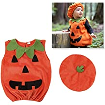 Amosfun Disfraz de Calabaza de Halloween Traje de Vestir Ropa con Sombrero para bebé Fotomatón Prop