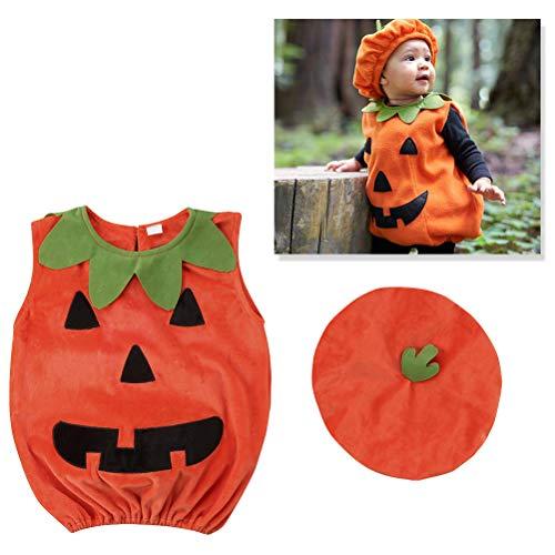 Amosfun Halloween Kürbis Kostüm Anzug Outfit Dress Up Kleidung mit Hut für Baby Photo Booth Prop Halloween Kostüm 1-2 Jahre