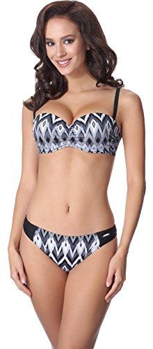 aQuarilla Damen Bikini Set AQ127(Schwarz/Weiß, 38)