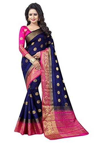 Saarah Women\'s Kanjivaram Art Silk Saree, Free Size (N3979DB, Dark Blue)
