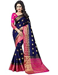 6bafd5fef SAARAH Art Silk Saree with Blouse Piece (EMP3979DB Blue Free Size)