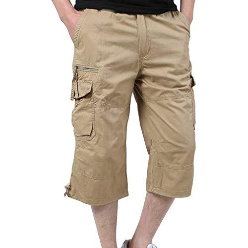 BOLANQ Jeans Hosen für männer, Herren Baumwolle Multi-Pocket Overalls Shorts Fashion Pant(Medium,Khaki)