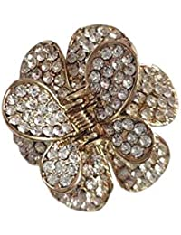 ORAS Hair Clip Claw Clutcher with Multi Colour Stones Hair Accessory for Women Makeup (1 Pcs.)