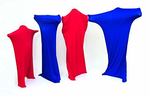 FLIXI Tanzsäcke - mit Bildungsheft - 4er Set Tanzanzüge aus reißfestem Material - besonders Hautverträglich - Rot - Blau
