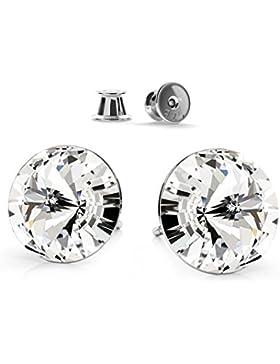 Crystals&Stones 925 Sterlingsilber Ohrstecker *RIVOLI* Farbe *Crystal* Schön Damen Ohrringe mit Kristallen von...