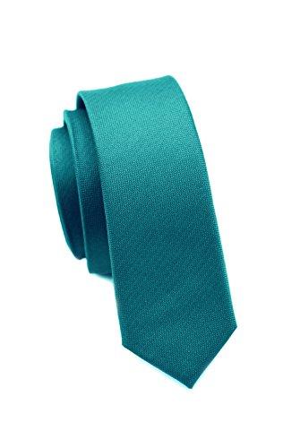 PARSLEY Extra schmale Krawatte, 24 verschiedene Farben, reine Seide, 4 cm, matt, Handarbeit, Skinny / Slim Tie, Business & Alltag (Petrol)