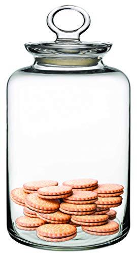 Barattolo in vetro trasparente con coperchio ermetico, classico, per utensili da cucina, cibo, biscotti, spezie, per casa, bar, hotel, ristorante, large - 2500cc