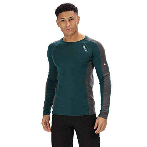 Regatta Herren Beru Merino Wool Super Soft Odour Controlling Long Sleeve Wicking Base Layer Top Funktionsunterwäsche, Deep Teal/Magnet, Größe S