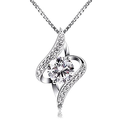 """B.Catcher Women Silver Necklaces 925 Sterling Silver Necklace with Cubic Zirconia, 18"""""""