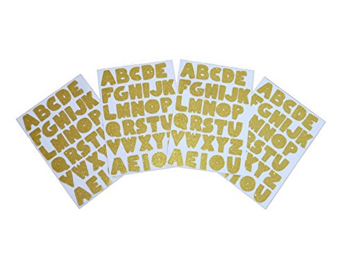 Schicke Goldene Glitzer Alphabet-Aufkleber A-Z - 4 Aufkleber-Bögen -