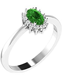 His & Her .925 Sterling Silver, Diamond And Emerald Ring For Women