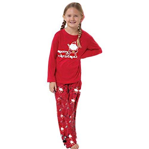 Innerternet 2Pcs Col Rond Manches Longues Top Et Pantalon Ensemble Famille VêTements De PèRe NoëL Pyjama Pjs Autumne VêTements De Nuit pour Fille Garçon(Rouge(Enfant),110(3-4 Ans))