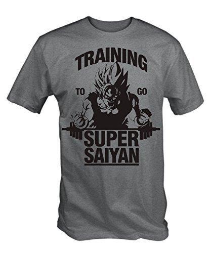 """T-shirt Gris Imprimé """"Training to go Super Saiyan"""" - Tailles X-Large"""