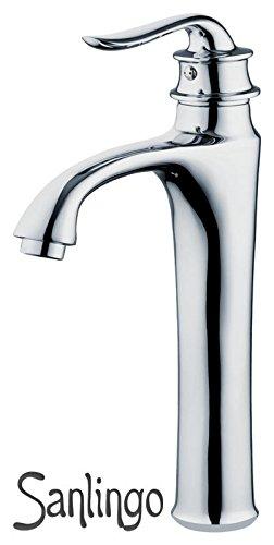 Preisvergleich Produktbild Retro Bad Badezimmer Einhebel Armatur Wasserhahn Waschbecken Waschtisch Chrom Hoch Sanlingo