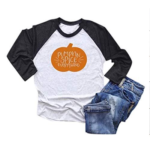CNBJMAZA Pumpkin Spice Everything - Raglan-T-Shirt für Damen - Baseball-T-Shirt mit Langen Ärmeln - Hand Block Gedruckt Baumwolle Rock