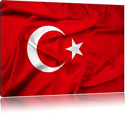 Turkey flag Türkei Flagge Format: 120x80 cm auf Leinwand, XXL riesige Bilder fertig gerahmt mit Keilrahmen, Kunstdruck auf Wandbild mit Rahmen, günstiger als Gemälde oder Ölbild, kein Poster oder Plakat