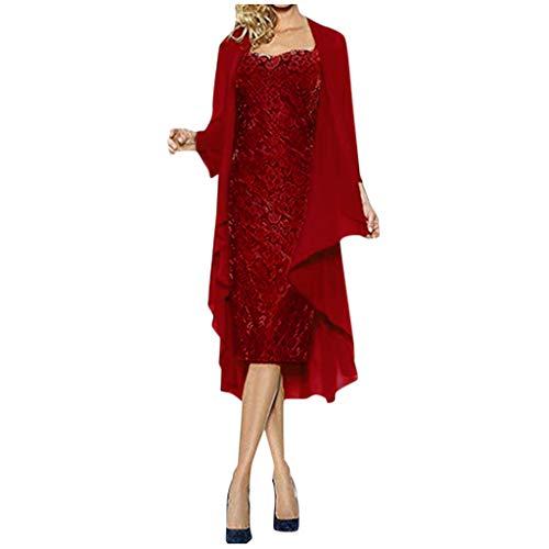 Bodycon Casual Herbst Dresses für Damenmode Zweiteiler Charmant Einfarbig Mutter der Braut Slim-Fit Chiffon Strickjacke Kleider ()