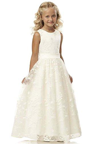 Babyonlinedress® Blumenmädchen Kinder Kleid Prinzessin Mädchen Partykleid Ballkleider Geburtstagskleid Elfenbein 8~9 Jahre