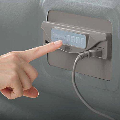 Intex Premaire Luftbett mit Fiber Tech Technologie Neue integrierte elektrische Pumpe mit Daten und USB, PVC, grau, 152x 203x 46cm - 6