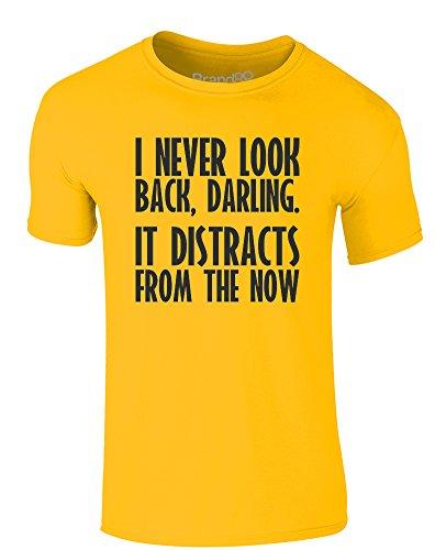 (Brand88 I Never Look Back, Erwachsene Gedrucktes T-Shirt - Gänseblümchen-Gelb/Schwarz L = 104-109 cm)