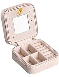 Caja de joyas pendientes collar anillos anillo con espejo pequeño sede y de almacenamiento joyas viaje Box piel sintética portátil regalo para mujer niña twolights