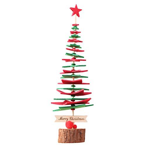BESTOYARD Klein Weihnachtsbaum mit Holzboden für Weihnachts Dekoration (Rot und Grün) - Kleine Treestand