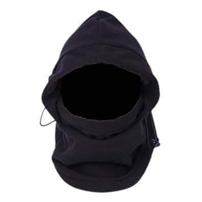 EOZY Multipurpose Use 6 in 1 Thermal Warm Fleece Balaclava Hood Police Swat Ski Bike Wind Stopper Full Face Mask Hats Neck Warmer Outdoor Winter Sports Snowboard Proof (Black)