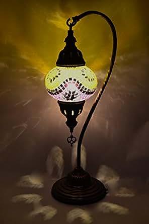 Mosaik 1001 tischlampe nalaya nachttisch lampe messing glas orientalisch 47x19cm for Mosaik lampe orientalisch