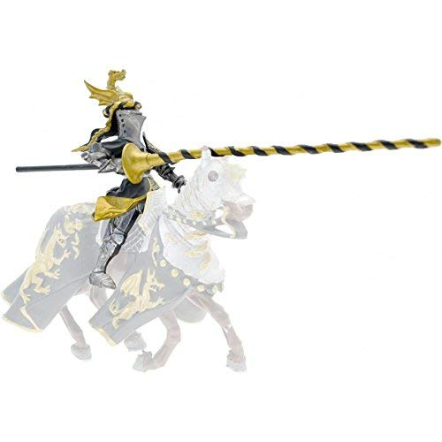 Plastoy-62035-Fig. Caballero Escudo Dragon, Negro y Oro (Cavalier)