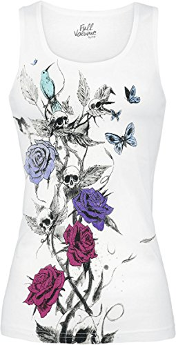 Full Volume by EMP Skull Rose Top Top donna bianco S