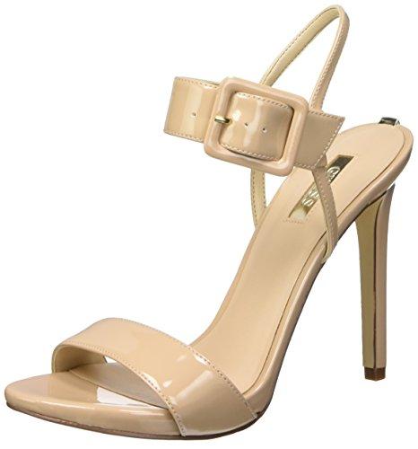 Guess Abbie2 Patent Pu, Sandales avec bride femme Beige - Beige (Nude)