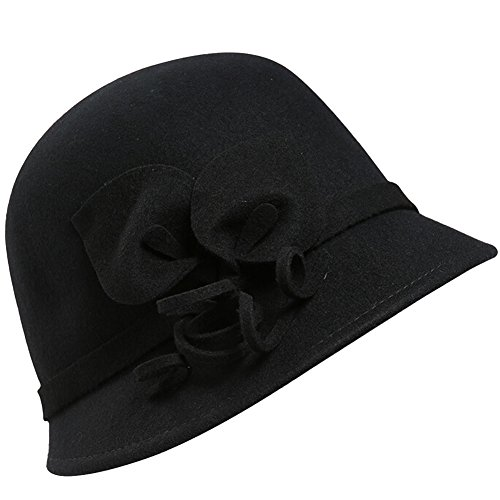 Damen Trilby Hut Frau Herbst Winter Warm Filz Melton Ruhm Blume Dekor Bowler Kappen Fedora Hüte 80Store (Ruhm Kostüme)