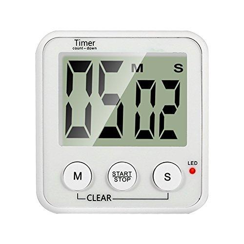 Großbild Uhr und Count-Down Timer showpin Elektronische Sport Timer Digital Küche Timer mit Rot LED Alarm–Timer Reminder–Tisch stehen–12H/24h wechselbar 1AAA Batterie im Lieferumfang enthalten