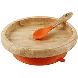 Avanchy - Platos de alimentación con ventosa para bebés y niños pequeños, no se colocan en platos de bambú clásicos divididos + cuchara de bebé, gran set de regalo para bebés naranja naranja